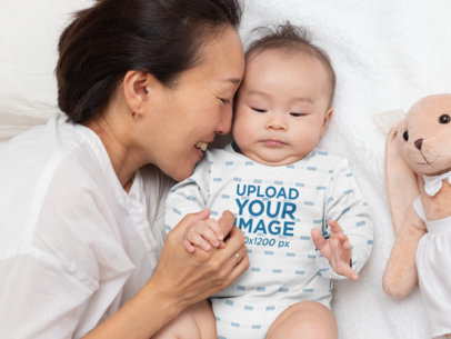 Long Sleeve Onesie Mockup Featuring a Baby Boy with His Mom 30012