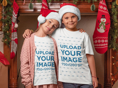 X-Mas T-Shirt Mockup of Two Siblings Hugging 30190