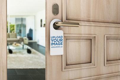 Mockup of a Door Hanger on a Open Room Door 1013-el