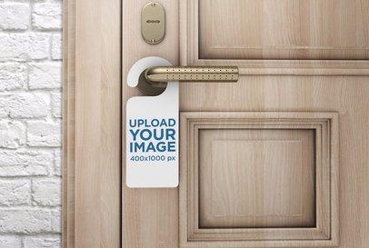 Door Hanger Mockup Featuring a Closed Door 1015-el