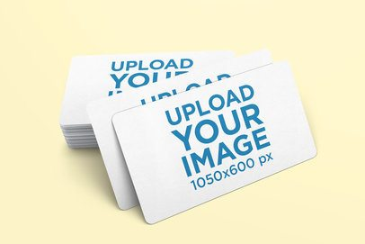 Mockup of a Pile of Business Cards with Rounded Corners 974-el
