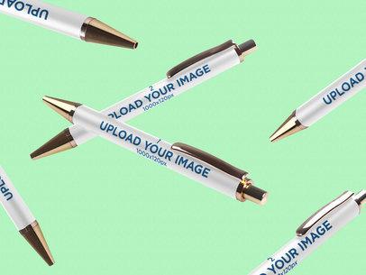 Pen Mockup Featuring Multiple Pens in a Plain Color Background 999-el
