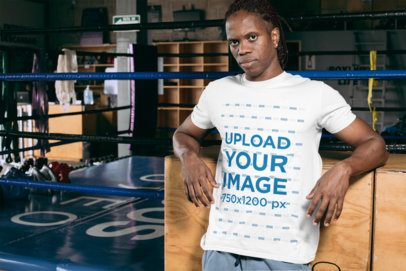 T-Shirt Mockup Featuring a Man Posing by a Boxing Ring 30156