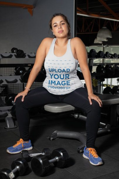 Mockup of a Woman at a Gym Wearing a Plus Size Tank Top 30148