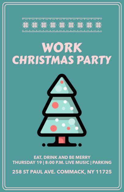 Office Party Flyer Generator Featuring a Christmas Tree Clipart 844g 128-el