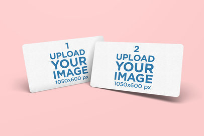 Minimalistic Mockup Featuring Two Business Cards with Rounded Corners 977-el