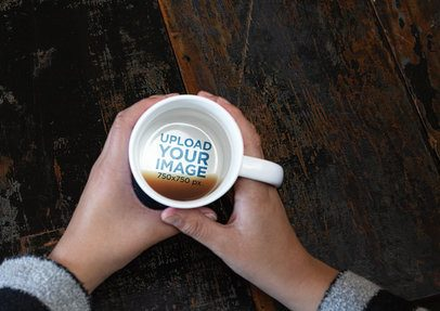 15 oz Hidden Message Mug Mockup on a Wooden Table 30131
