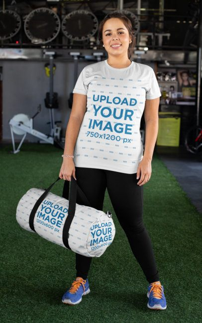 Plus Size Tee Mockup of a Woman at a Gym Carrying a Duffle Bag 30149