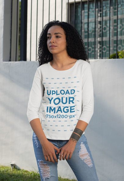 Three-Quarter Sleeves T-Shirt Mockup of a Woman Standing Outside 30212