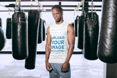 Tank Top Mockup Featuring a Fitness Man Standing by Boxing Punching Bags 30161