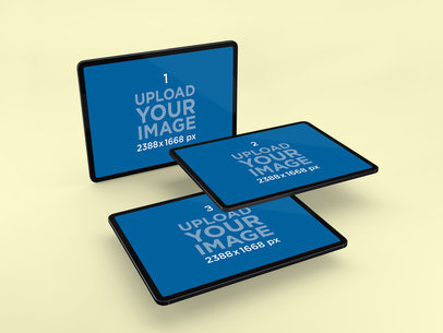 Mockup of Multiple iPads Magically Floating in a Plain Backdrop 1019-el