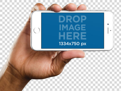 iPhone 6s Mockup Held in Landscape Position by a Black Man a11031