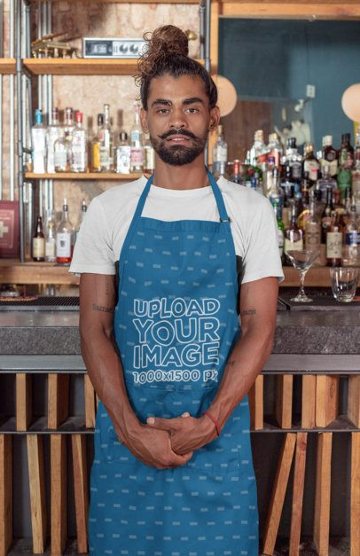 Mockup of a Hipster Bartender Wearing an Apron 30285