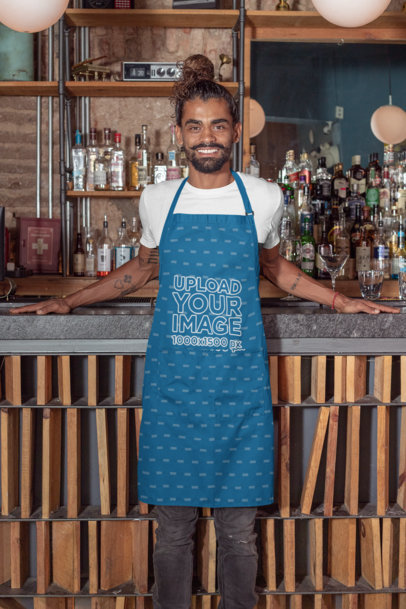 Apron Mockup Featuring a Tattooed Bartender with a Hair Bun 30286