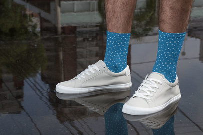Mockup of a Man with Sublimated Socks Standing on a Wet Surface 29552