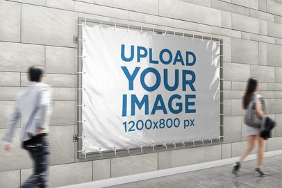 Mockup of a Horizontal Banner Placed on a Wall with People Passing By 899-el