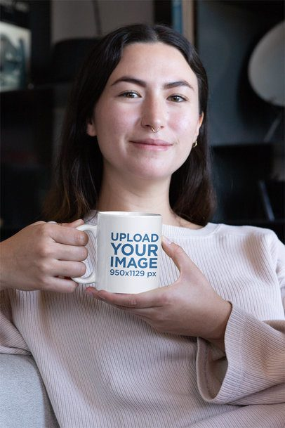 Mockup of a Woman Holding an 11 oz Coffee Mug with Both Hands 30121