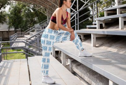 Mockup of a Woman in a Cool Pose Wearing Sublimated Sweatpants 29868