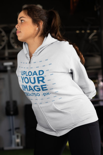 Plus Size Full Zip Hoodie Mockup of a Woman Stretching 30154