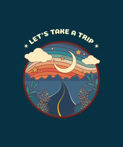 Retro-Style T-Shirt Design Template Featuring a Nostalgic Road Graphic 1954h
