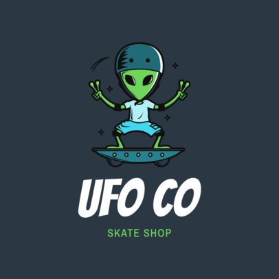Clothing Brand Logo Maker Featuring an Alien Skater 2698