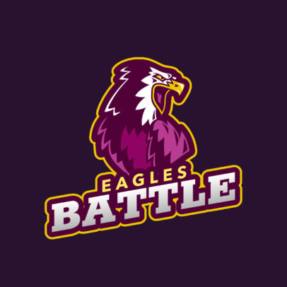 Logo Template for a Sports Team Featuring an Eagle with an Open Beak 2693f