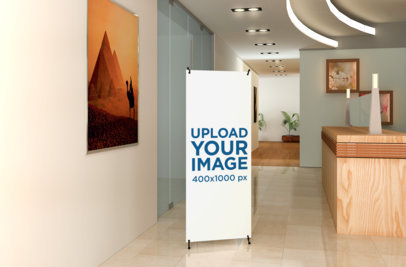Mockup of an X-Stand Banner at the Hallway of an Office Complex 1035-el