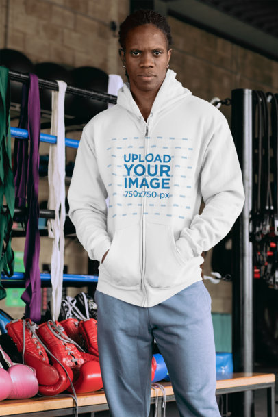 Mockup of a Man at a Boxing Gym Wearing a Full Zip Hoodie 30167