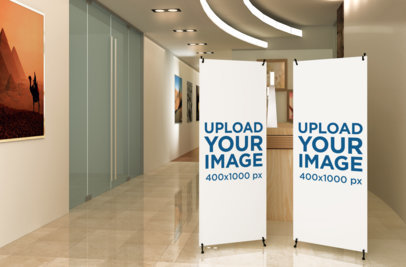 Mockup of Two X-Stand Banners at an Art Gallery Hallway 1034-el
