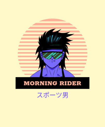 Retro T-Shirt Design Generator with a Japanese-Style Character 1957b