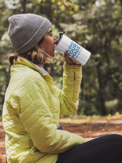 Travel Mug Mockup of a Woman in Nature 30489