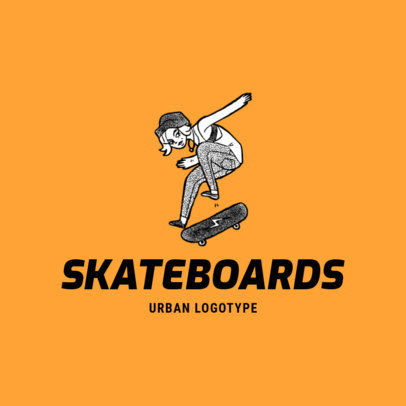 Clothing Brand Logo Maker Featuring a Drawing of a Female Skater 2598f