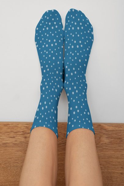 Mockup of A Woman Upside-Down Wearing Sublimated Socks 29534