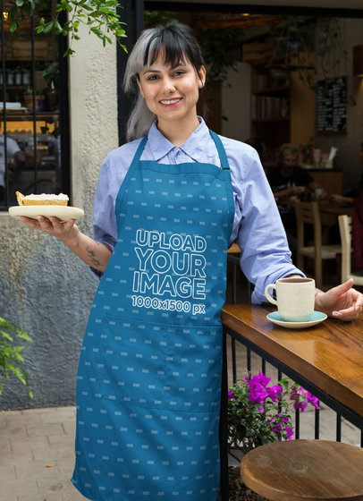 Sublimated Apron Mockup Featuring a Woman Holding a Cake Slice 30273