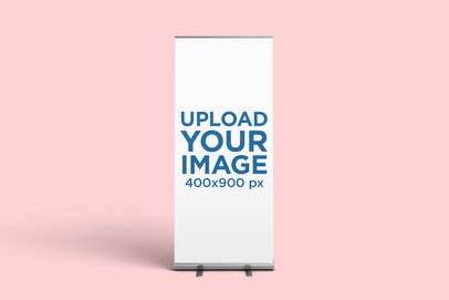 Minimal Mockup Featuring a Roll-Up Banner Standing Against a Plain Background 913-el