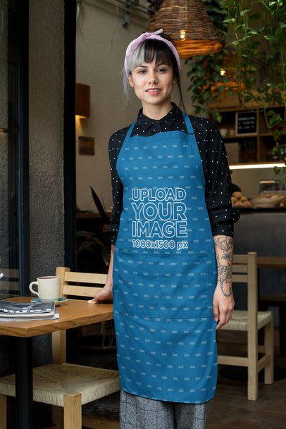 Mockup of a Waitress Wearing a Sublimated Apron 30279