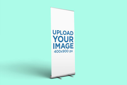 Roll-Up Banner Mockup Featuring a Solid Color Backdrop 914-el