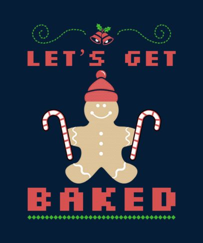 Xmas T-shirt Design Template for an Ugly Sweater 7-el