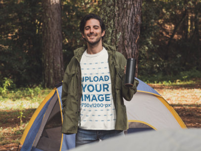 T-Shirt Mockup of a Man Camping in the Woods 30473