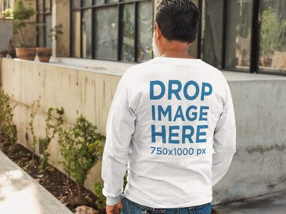 Back of a Middle-Aged Man Wearing a Long Sleeve Tee Mockup a11304b
