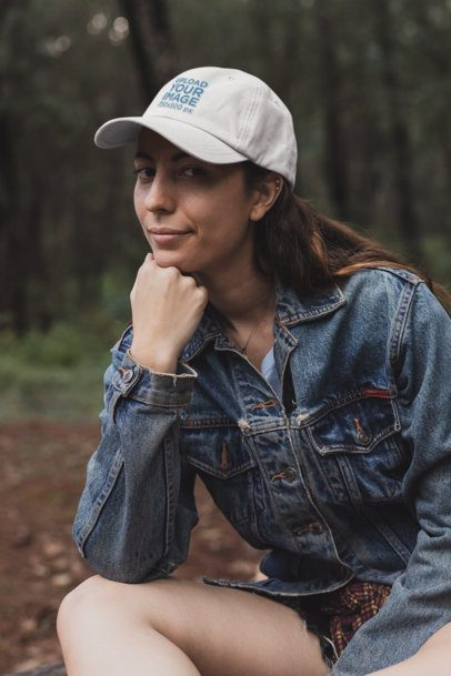 Dad Hat Mockup of a Woman Sitting in Nature 30464