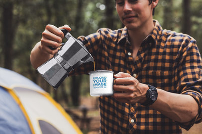 Mockup of a Man Pouring Coffee into a 12 oz Enamel Mug with a Silver Rim 30487