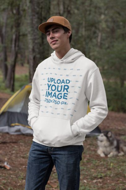 Mockup of a Man Wearing a Pullover Hoodie in the Woods 30482
