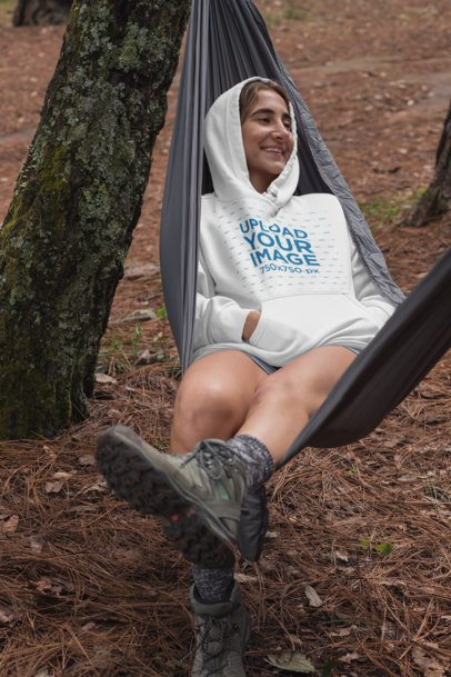 Pullover Hoodie Mockup of a Woman in a Hammock 30470