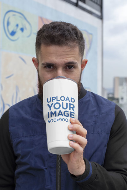 Mockup of a Man Drinking from a 30 oz Travel Mug 30378