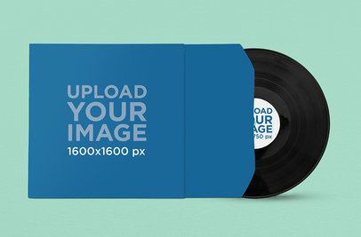 Vinyl Record Mockup Featuring a Solid Color Backdrop 1039-el