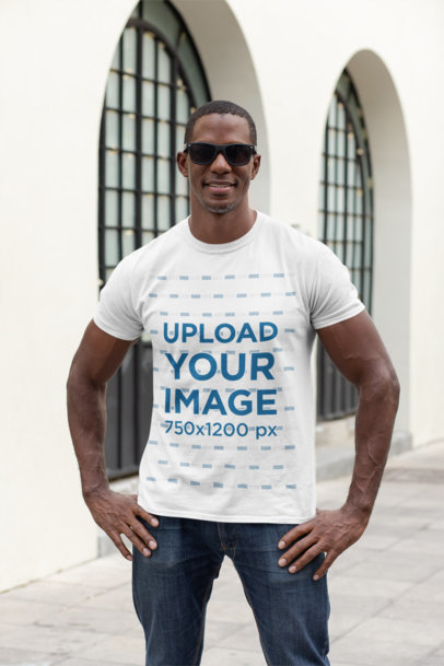 Mockup of a Man with Sunglasses Wearing a Crewneck T-Shirt Outside 30448