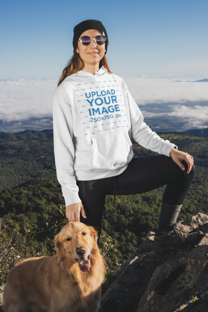 Pullover Hoodie Mockup Featuring a Woman Hiking with Her Dog 30495
