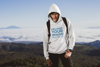 Pullover Hoodie Mockup of a Hiker at the Top of a Mountain 30497