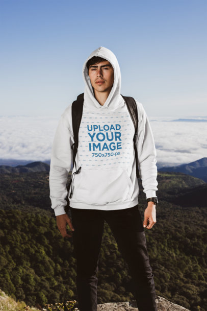 Pullover Hoodie of a Man Hiking a Mountain 30498